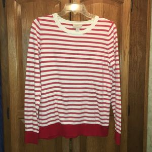 LOFT Red White Striped Cotton Top Blouse Sweater M